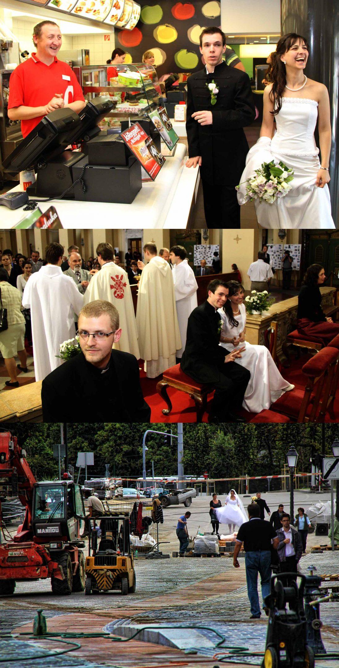 bátor esküvői képek, merész esküvői képek, mcdonalds esküvő, építkezés esküvő